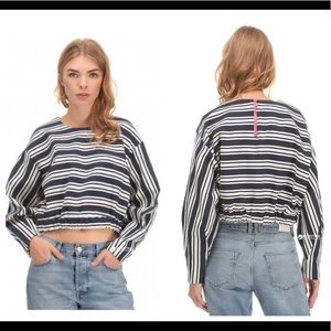 Zara Trafaluc nautical stripe long sleeve crop top